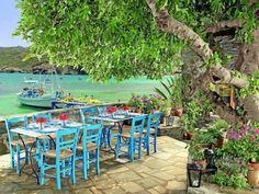 Seaside taverna in Agia Galini, South Crete Some Beautiful Pictures, Beautiful Places, Places In Greece, Crete Island, Creta, Outdoor Restaurant, Crete Greece, Greek Islands, Vacation Destinations