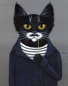 L'impression d'Art populaire du Hipster Cat 8 x par KilkennycatArt