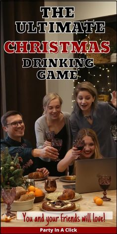 Host a virtual Christmas party! This fun Christmas themed drinking game will get you and your gang laughing, drinking and having a good time. This game is 100% virtual so it can be played over a video chat, or in person while casting it to a screen. This is an adult Christmas game meant for anyone over the age of 21+, Please drink responsibly. Christmas activities for adults, Holiday games for adults, Holiday drinking games, Adult drinking games, Christmas party games, Online Christmas Party