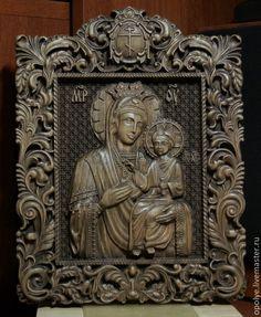 Купить Резная Икона из дерева - Избавительница от бед - икона, подарок, резьба…
