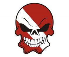 Scuba Diving Flag Skull Sticker Decal
