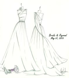 custom wedding dress sketches | got a wedding dress sketch for my sister-in-law after her wedding ...