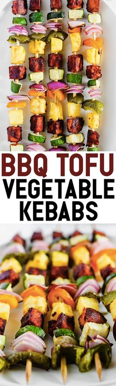 Celebrate summertime with these colorful BBQ Tofu Vegetable Kebabs! Fire up the grill or bake them in the oven using any vegetables you have in the fridge. (vegan & gluten-free) @Pompeian #TrendingInTheKitchen #sponsor