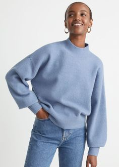 #andotherstories #knitwear #knits #sweaters #inspiration #fall #outfit #fashion Fashion Story, Blue Design, Cut Jeans, Blue Sweaters, Strap Sandals, Mock Neck, Knitwear, Personal Style, Pullover