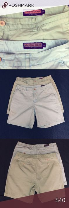 """Men's Vineyard Vines Bundle Men's Vineyard Vines Shorts Bundle!!  Sz 36 waist with an approx 8"""" inseam.   Pastel/Easter colors: (1) Blue & (1) Green  EUC!  Flat Front!   All my items are from a smoke free home and reasonable offers are always welcome. Vineyard Vines Shorts"""