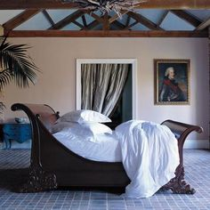 And So To Bed Brodsworth Hand Carved Wooden Sleigh Bed, Natural Finish for the Master Bedroom Wooden Sleigh Bed, Sleigh Beds, Home Bedroom, Bedroom Decor, Wooden Bedroom, Master Bedroom, Bedroom Ideas, Home Decor Furniture, Bedroom Furniture