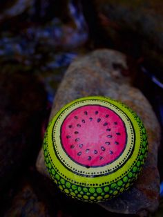 Fruit Watermelon Stone / Painted Rocks /Fruit Stone by mitsel8