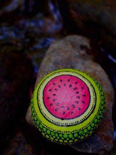 Fruit Watermelon Stone / Painted Rocks /Fruit Stone by mitsel8