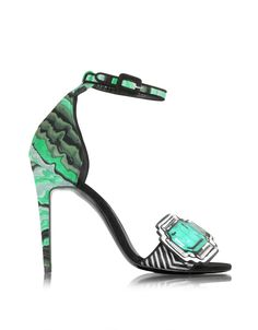 Mega Gem Sandal crafted in 'vibration' marbled leather and haircalf, have a…