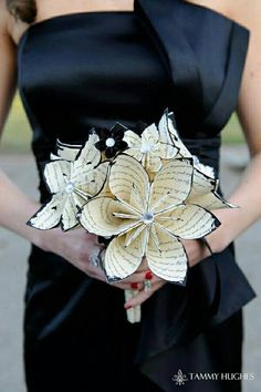 Paper wedding bouquet with black tips