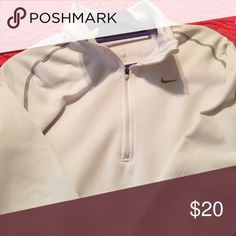 Nike fleece pullover White and grey quarter zip Nike fleece pullover Nike Shirts Sweatshirts & Hoodies