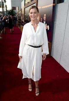 Ellen Pompeo se mostró con un estilo algo informal para una premiere, aunque no por ello perdió elegancia