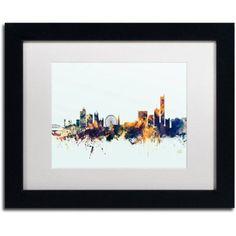 Trademark Fine Art Manchester Skyline Blue Canvas Art by Michael Tompsett, White Matte, Black Frame, Size: 16 x 20, Multicolor