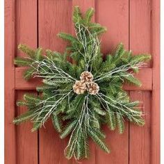 Create a snowflake wreath using the left over branches cut from the bottom of your Christmas tree. These would make nice window decorations instead of the typical wreaths. Noel Christmas, Country Christmas, Winter Christmas, Christmas Greenery, Christmas Projects, Holiday Crafts, Holiday Fun, Holiday Ideas, Festive
