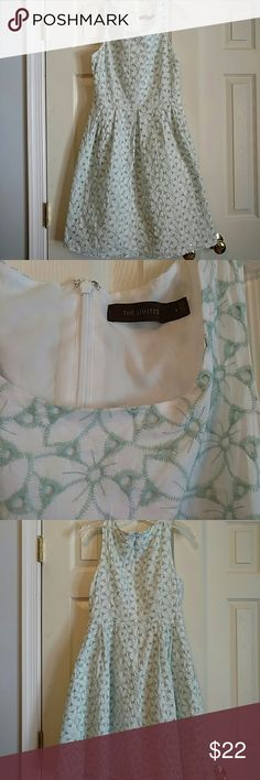 Limited Sundress Super feminine lined eyelet sundress issoft mu the green.  A must for spring/summer! Very small discoloration at hem. Worn once to a spring wedding. The Limited Dresses Midi