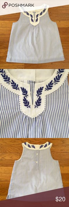 Janie and Jack embroidered top Light blue and white striped top with blue embroidery around the collar.  NWOT. So cute with the white jeans also in my closet! Janie and Jack Shirts & Tops