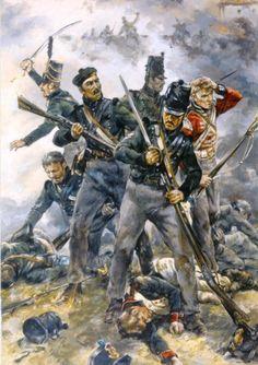 L's defence of Hougoumont Military Diorama, Military Art, Military History, Waterloo 1815, Battle Of Waterloo, British Soldier, British Army, La Haye, War Film