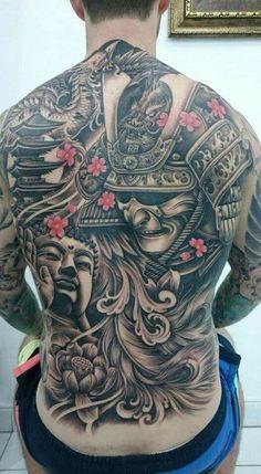 Amazing Full back samurai tattoo Japanese Back Tattoo, Japanese Tattoo Designs, Japanese Tattoos, Badass Tattoos, Body Art Tattoos, Sleeve Tattoos, Backpiece Tattoo, Mask Tattoo, Demon Tattoo