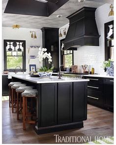 Painted Black Kitchen Cabinets Before And After. Black Kitchen Cabinets With Butcher Block Countertops. Black Kitchen Cabinets What Color Appliances. Black Kitchen Cabinets, Black Kitchens, Home Kitchens, White Cabinets, Shaker Cabinets, Art Deco Kitchen, New Kitchen, Kitchen Decor, Kitchen Ideas