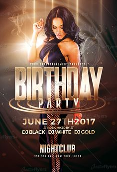 Gold Birthday Party  Psd Flyer Template By Romecreation On