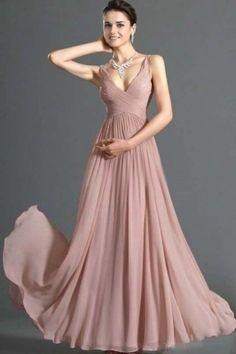 Simple Prom Dresses A Line V Neck Floor Length Chiffon Cheap Under 100