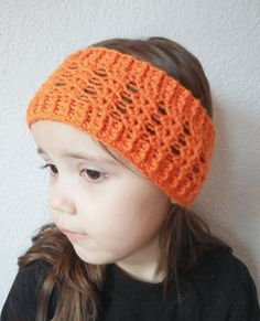 Girls Lacy Earwarmer Headband in Tangerine ready to by luvbuzz