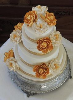 Gold and White Peony Wedding Cake, 4 tiers