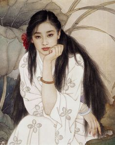 Wang meifang and Zhao Guojing Wang Meifang, is a second-class artist at the Tianjin Academy of Arts and Crafts. Zhao Guojing, is a first-class painter at the Tianjin Academy of Painting. Silk Painting, Woman Painting, Figure Painting, Portrait Paintings, Portrait Art, Portraits, Art Asiatique, Art Japonais, China Art