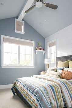California Cape Cod Home Design featuring Epic Shore Bedding by Eastern Accents! Orange, blue and lime bedding- oh my! Blue Room Decor, Blue Rooms, Teen Boy Bedding, Teen Bedroom, Home Living Room, Cape Cod, Decorating Your Home, House Design, Interior Design
