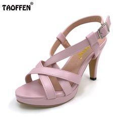 a01e5a3c9d08 TAOFFEN Size 32-43 Women s High Heel Sandals Gladiator Shoes Women Lady  Sexy Platform Sandals