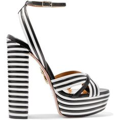 Aquazzura Sundance striped leather platform sandals ($895) ❤ liked on Polyvore featuring shoes, sandals, black, strappy high heel sandals, leather sandals, strap sandals, black strap sandals and black sandals