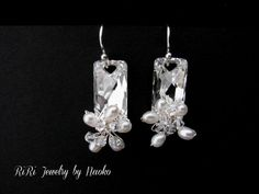 Crystal with Flower in Sterling Silver  by RiRiJewelrybyNaoko, $46.00