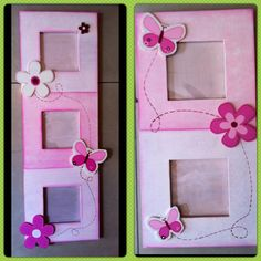 cuadros Wood Crafts, Diy And Crafts, Crafts For Kids, Arts And Crafts, Paper Crafts, Decoupage, Tole Decorative Paintings, Baby Girl Scrapbook, Kids Room Design