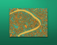 Abstract fine print map of Venice on canvas 6 x 8 by CardotaMaps, $24.00