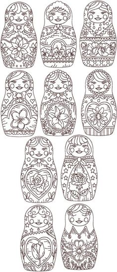 Advanced Embroidery Designs - Redwork Russian Doll (Matreshka) Set/ Great for folk art and tole painting ideas Cross Stitch Embroidery, Embroidery Patterns, Hand Embroidery, Machine Embroidery, Simple Embroidery, Peyote Patterns, Colouring Pages, Adult Coloring Pages, Coloring Books