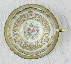 Turquoise Paragon Commemorative Coronation Tea Cup, Queen Elizabeth II