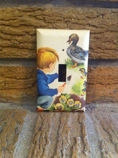 Good Old Days Light Switch Cover Boy Ducks and Ducklings