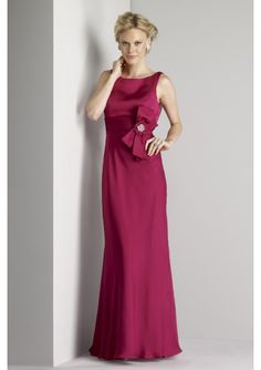 Hot sell red Chiffon Scoop Neckline A-Line bridesmaid dress