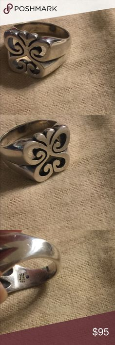 James Avery retired wide Spring Butterfly ring sz7 Sterling. Normal wear  strong stamp. James Avery Jewelry Rings