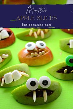 Looking for an healthy and fun Halloween treat for the kids and adults? Break out some ingredients from the pantry and make my Monster Apple Slices for your next Monster Bash. #apples #snacks #halloweenrecipe Fun Halloween Treats, Easy Halloween Food, Halloween Appetizers, Halloween Recipe, One Pot Meals, Kids Meals, Hazelnut Spread, Mini Marshmallows, Apple Slices