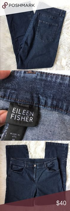 "Eileen Fisher Sz M Indigo Wash Denim Crop Jeans Indigo blue wash. Very lightweight and soft. Almost like a jegging. Good pre-owned condition, normal wear. Please see pics.   Measurements:  Waist laid flat 16"" Inseam 26"" Outseam 35"" Rise 9"" Leg Opening 7"" Eileen Fisher Jeans Boot Cut"