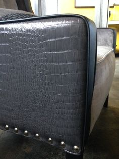 For Sale. Grey odd chair in various materials. Croc vinyl, velvet and black vinyl. Studded and deep button detail. Black Stains, Bespoke Furniture, Home Look, Design Projects, Ottoman, Velvet, Deep, Button, Interior Design