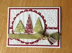 Handmade Christmas Card Kit 3 Sparkle Trees MD w Mostly Stampin Up Product | eBay