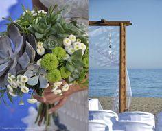 http://malgenioworkshop.blogspot.com.es/2012/07/una-boda-en-la-playa-beach-wedding.html    wedding | beach | blue | sea | bouquet