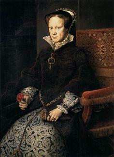 Anthonis Mor. Queen Mary Tudor of England, 1554. Prado Museum, Madrid.