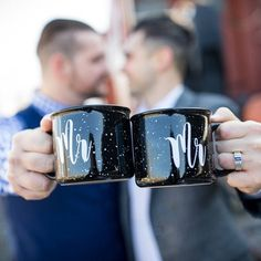Grooms with Mr. and Mr. Mugs. Wedding ideas for LGBTQ  wedding gifts, decor, invitations and more. Mugs from ShipSunshine on Etsy. #weddingideas Fall Wedding, Wedding Gifts, Wedding Ideas, Blue Wedding, Happily Ever After, Black And White Wedding Theme, Wedding Hall Decorations, Neutral Wedding Colors, Wedding Moments