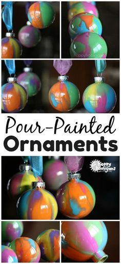 Pour-Painted Christmas Ornaments With Clear Ornaments, DIY and Crafts, Pour Painted Christmas Ornaments: Pour painting is an easy way to decorate clear glass or plastic ornaments for the Christmas tree or to give as gifts. Clear Christmas Ornaments, Clear Plastic Ornaments, Christmas Ornament Crafts, Painted Ornaments, How To Make Ornaments, Diy Christmas Gifts, Kids Christmas, Holiday Crafts, Ornaments Ideas