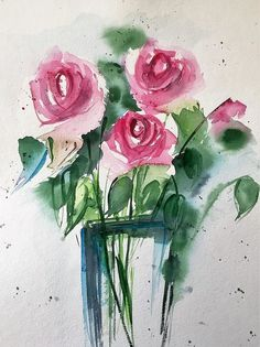 Red Roses Art Print featuring the painting Red Roses In The Vase by Britta Zehm