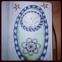 Kai-Zen Doodles.  #moleskine #doll #artjournal #doodle #Z.I.A. #zendoodle #heart #yinyang #drawing #star