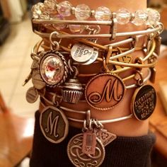 Love these bracelets! Stacking a bunch and adding different ones like the beaded, makes for different looks. Alex And Ani Necklaces, Alex And Ani Bangles, Alex And Ani Jewelry, I Love Jewelry, Love Bracelets, Fashion Bracelets, Bangle Bracelets, Pandora Bracelets, Arm Candy Watch